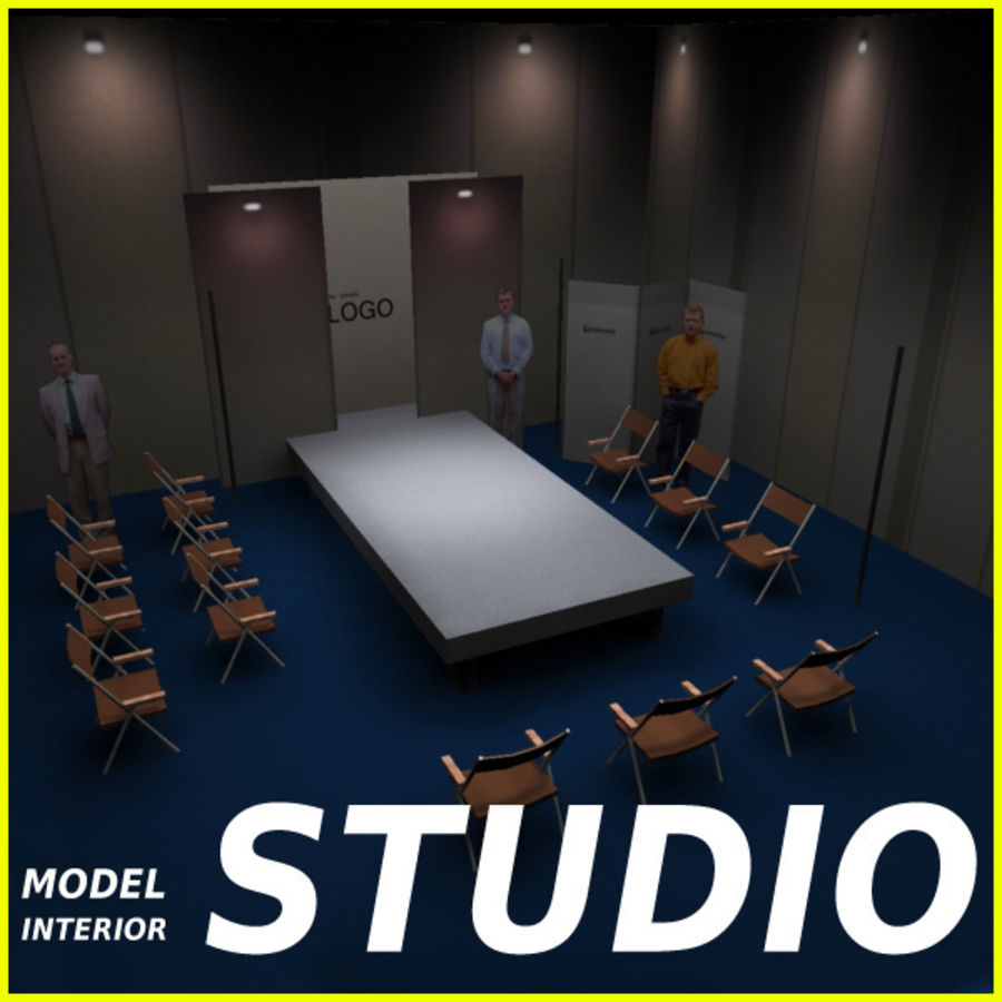 Studio TV Showroom Catwalk royalty-free 3d model - Preview no. 1