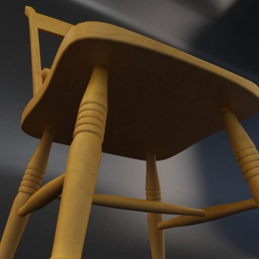 Cadeira de madeira velha royalty-free 3d model - Preview no. 3