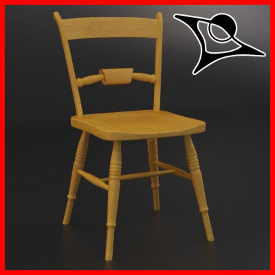 Cadeira de madeira velha royalty-free 3d model - Preview no. 1