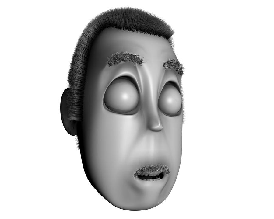 Cartoon Character Head- Charlie royalty-free 3d model - Preview no. 2