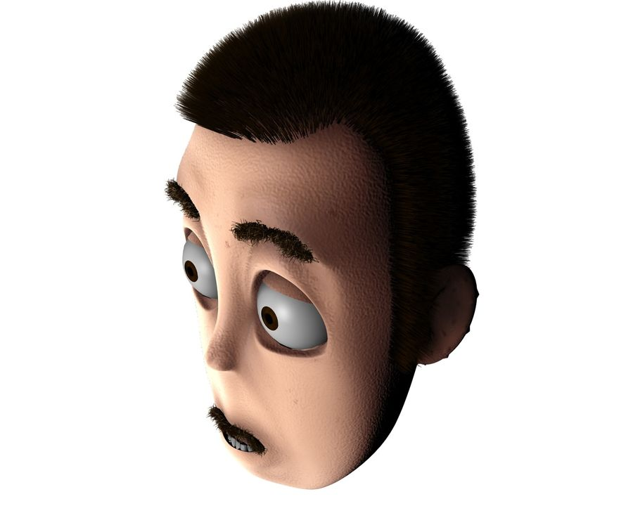 Cartoon Character Head- Charlie royalty-free 3d model - Preview no. 5