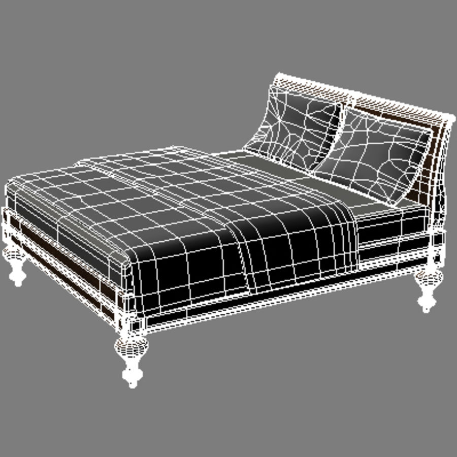 Bed with bedside tables royalty-free 3d model - Preview no. 7