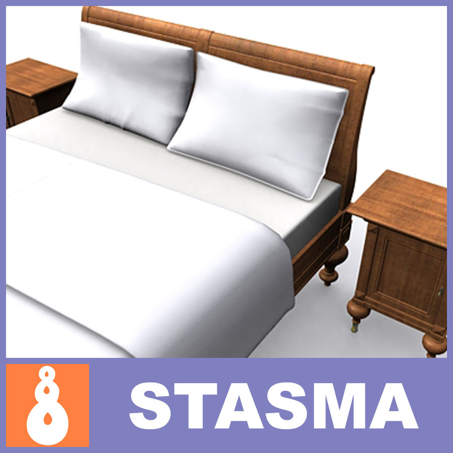 Bed with bedside tables royalty-free 3d model - Preview no. 1