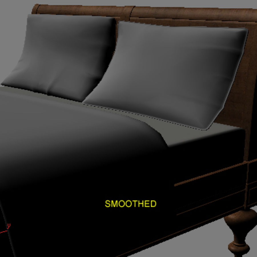 Bed with bedside tables royalty-free 3d model - Preview no. 9