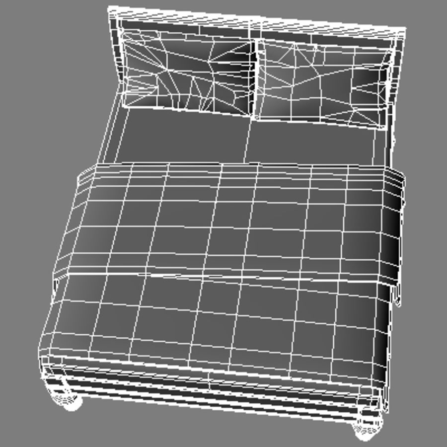 Bed with bedside tables royalty-free 3d model - Preview no. 20