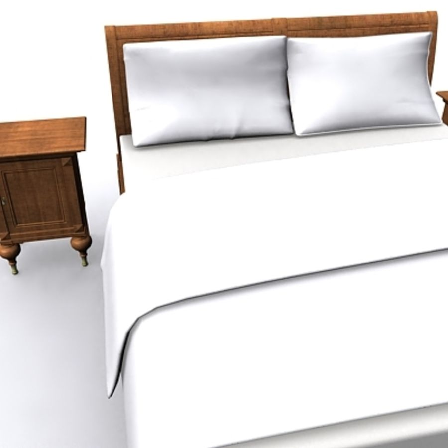 Bed with bedside tables royalty-free 3d model - Preview no. 3