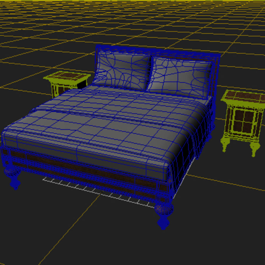 Bed with bedside tables royalty-free 3d model - Preview no. 4