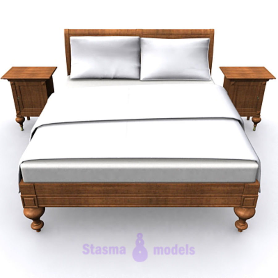 Bed with bedside tables royalty-free 3d model - Preview no. 2