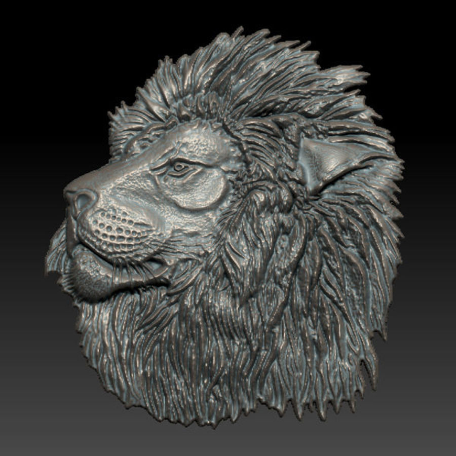 Lion Head Relief royalty-free 3d model - Preview no. 5