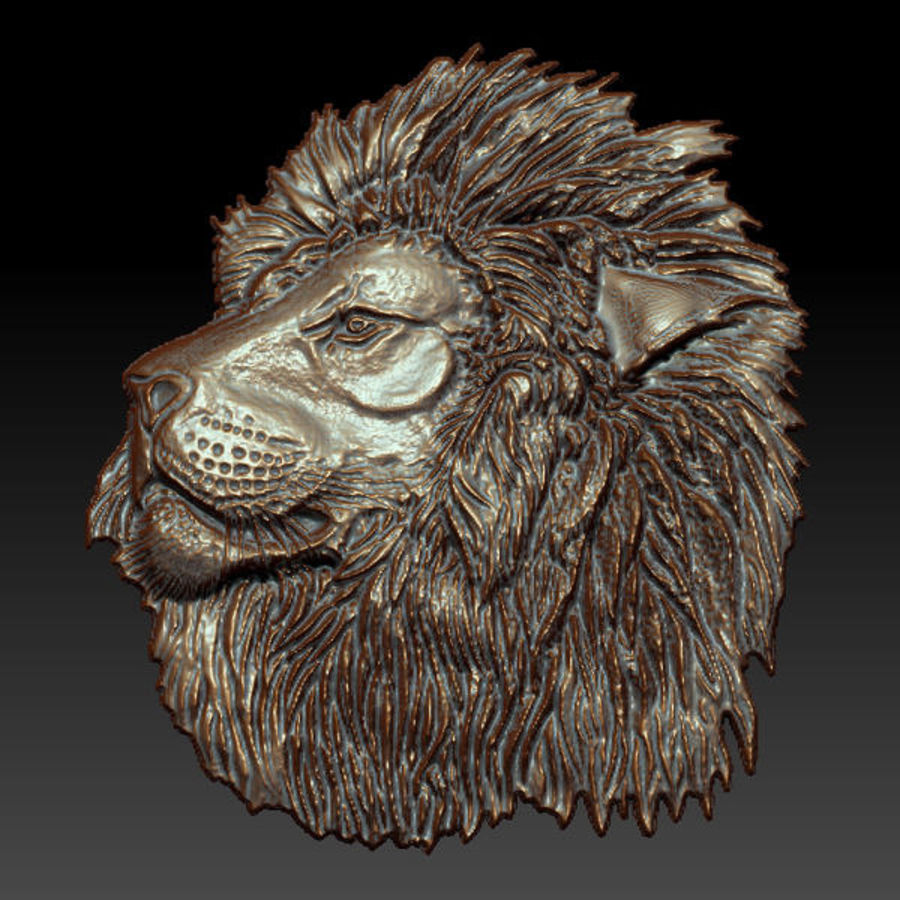 Lion Head Relief royalty-free 3d model - Preview no. 3