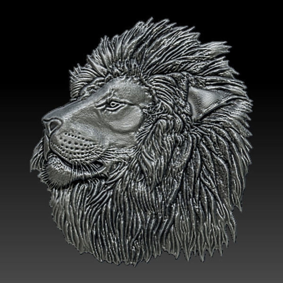Lion Head Relief royalty-free 3d model - Preview no. 6