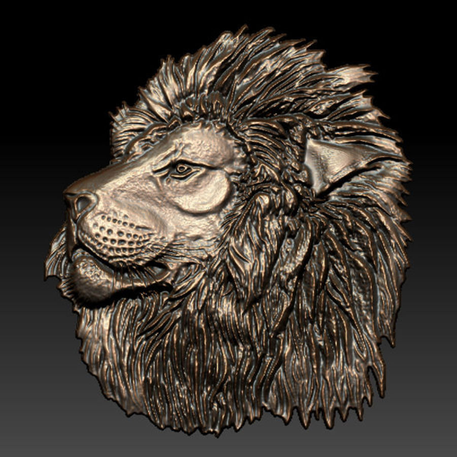 Lion Head Relief royalty-free 3d model - Preview no. 2