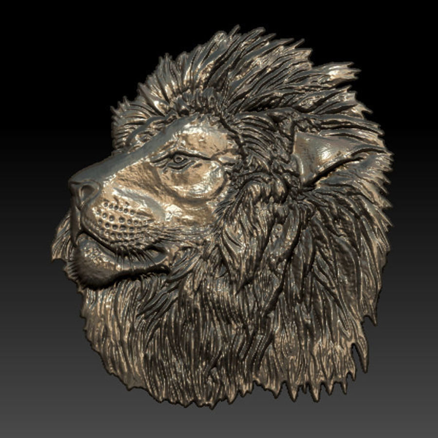 Lion Head Relief royalty-free 3d model - Preview no. 4