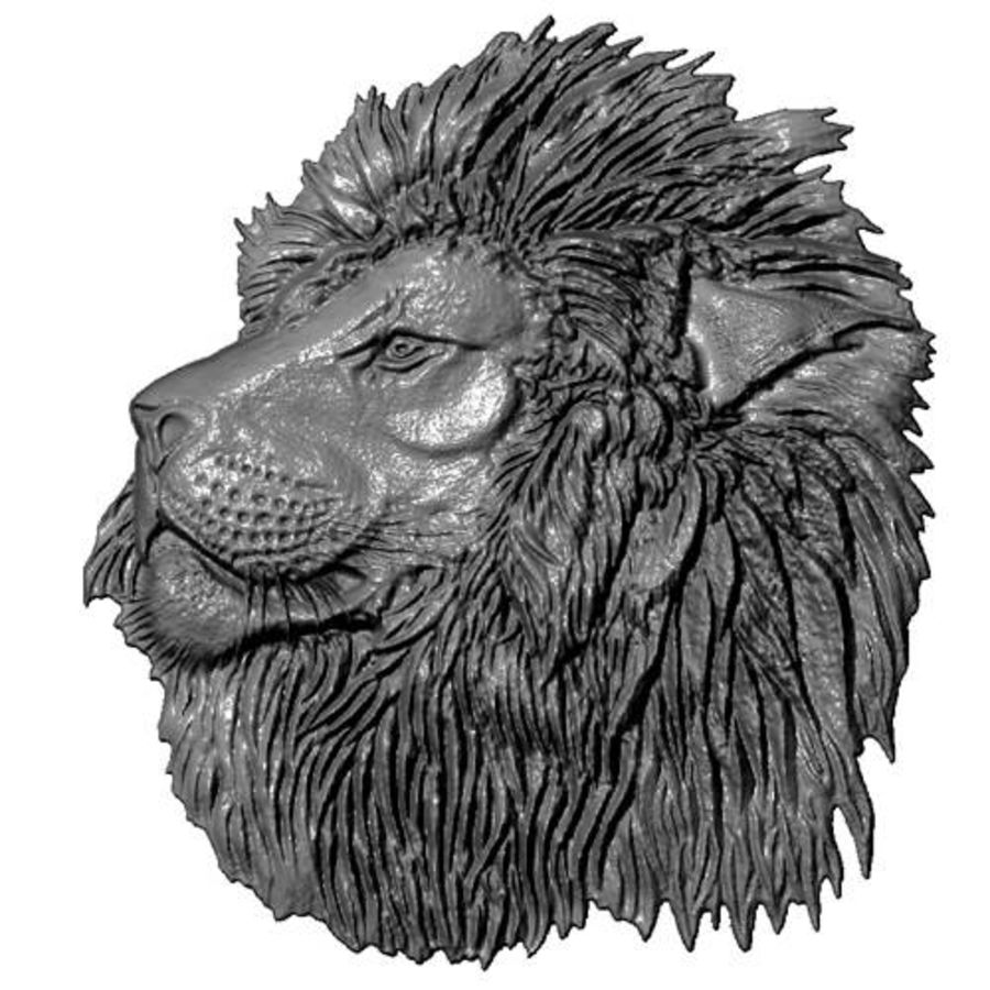 Lion Head Relief royalty-free 3d model - Preview no. 1