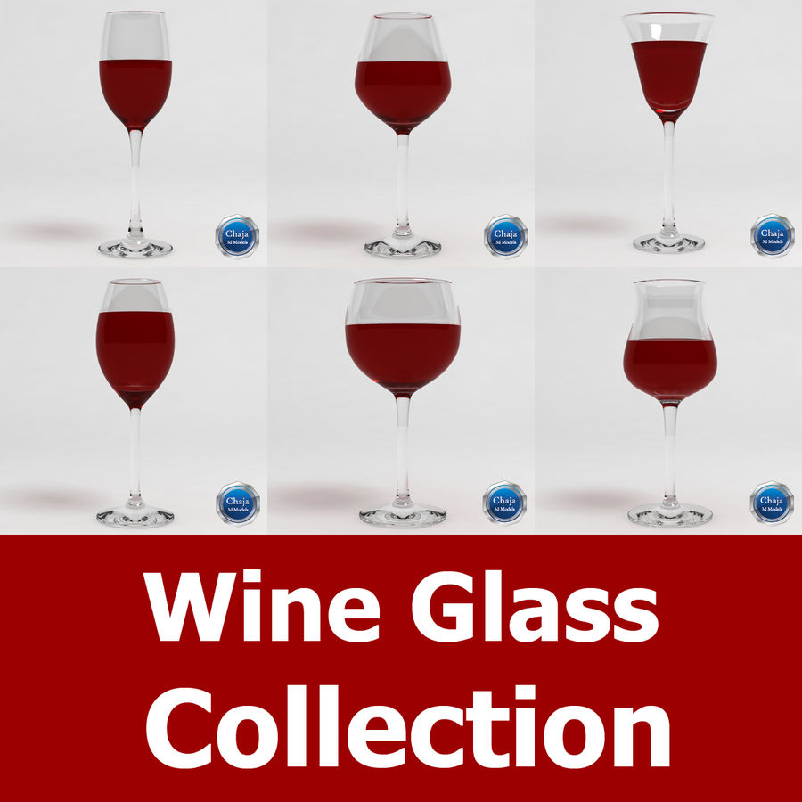 Wine Glass Collection royalty-free 3d model - Preview no. 1