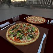 on the table - two pizza 3d model