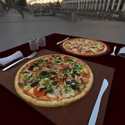 sur la table - deux pizza 3d model