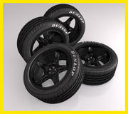 Car tire (tyre) with black sports rim wheel 3d model