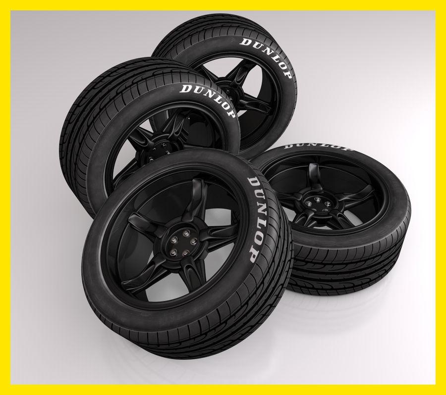 pneu de voiture pneu avec jante de sport noire mod le 3d. Black Bedroom Furniture Sets. Home Design Ideas