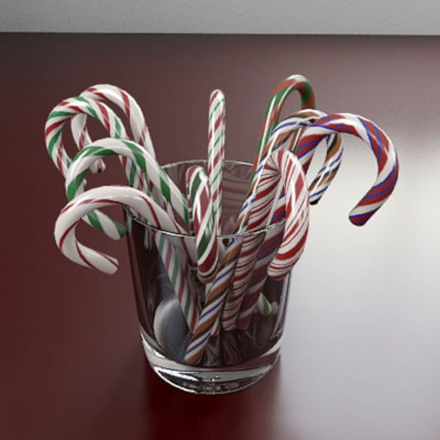 Candy Canes 1 - Candy Canes In Cup - 3ds max 2010 - Mental Ray royalty-free 3d model - Preview no. 4