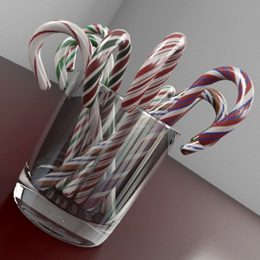 Candy Canes 1 - Candy Canes In Cup - 3ds max 2010 - Mental Ray royalty-free 3d model - Preview no. 3