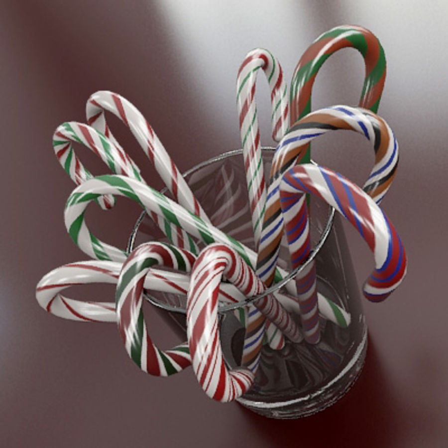 Candy Canes 1 - Candy Canes In Cup - 3ds max 2010 - Mental Ray royalty-free 3d model - Preview no. 2
