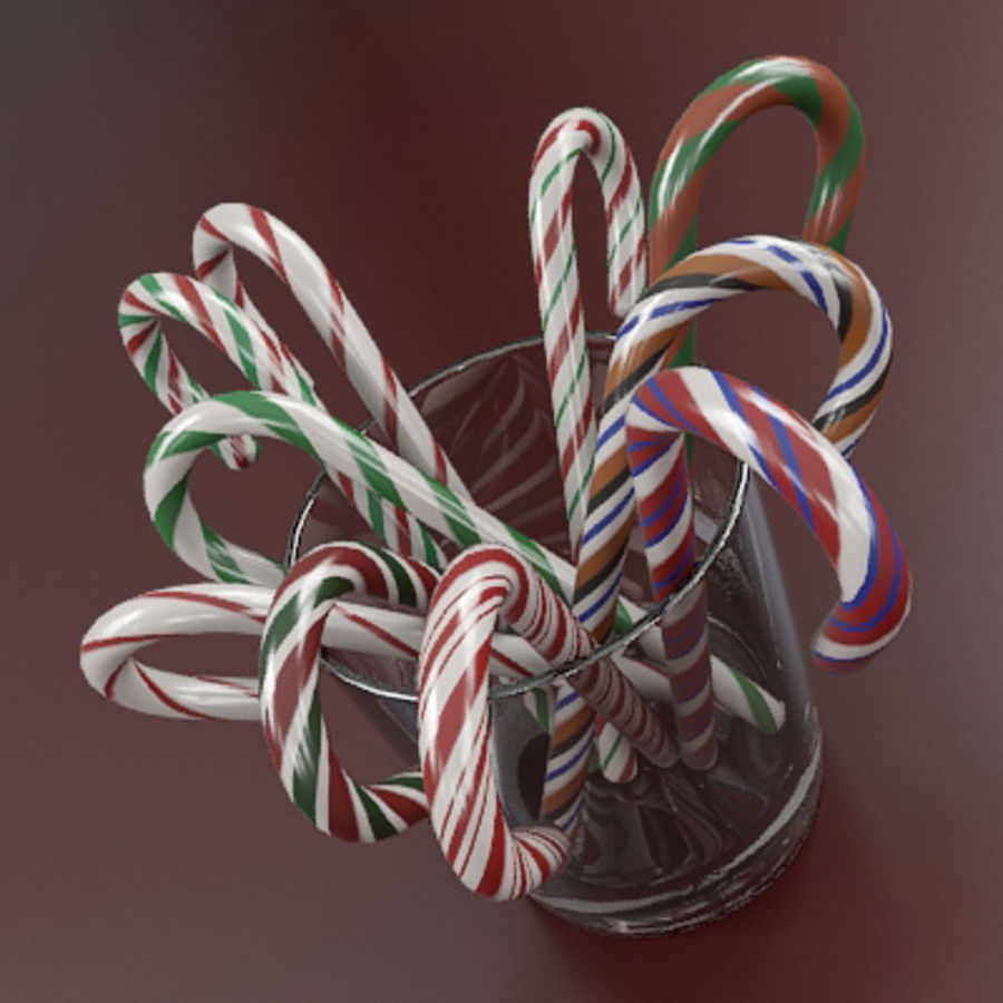 Candy Canes 1 - Candy Canes In Cup - 3ds max 2010 - Mental Ray royalty-free 3d model - Preview no. 6