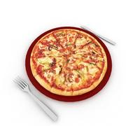 Pizza on the plate 3d model