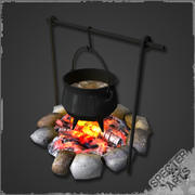 Cauldron and campfire 3d model