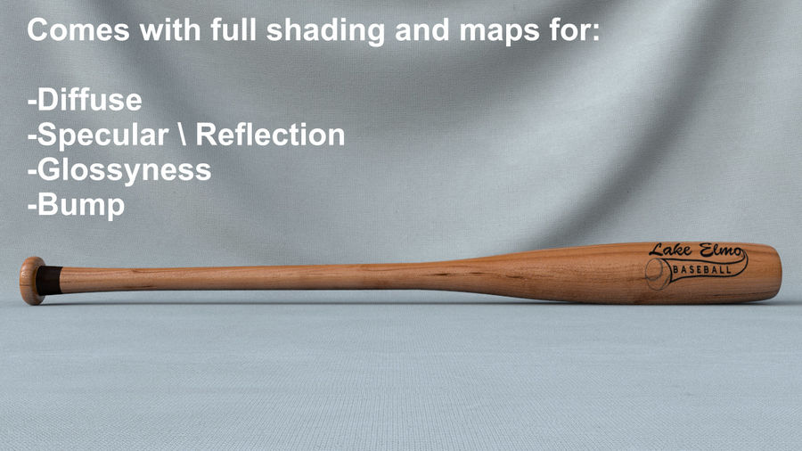 Baseball Bat royalty-free 3d model - Preview no. 2