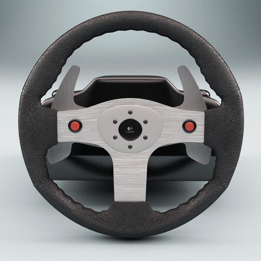 Logitech Racing Wheel royalty-free 3d model - Preview no. 2
