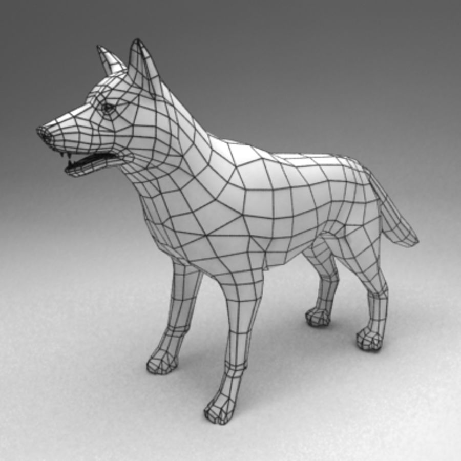 German shepherd rigged royalty-free 3d model - Preview no. 7