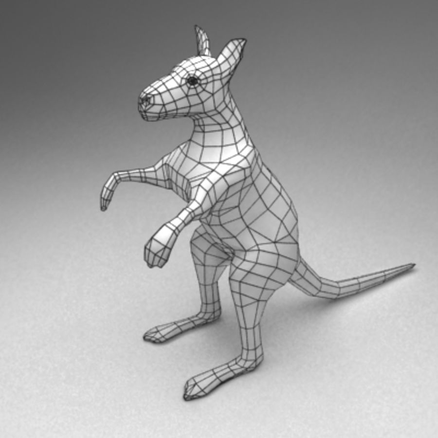 Kangaroo lowpoly rigged royalty-free 3d model - Preview no. 7