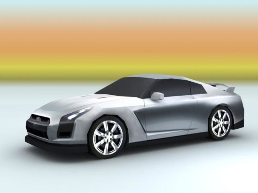 Nissan GTR 2008 (low poly) royalty-free 3d model - Preview no. 2