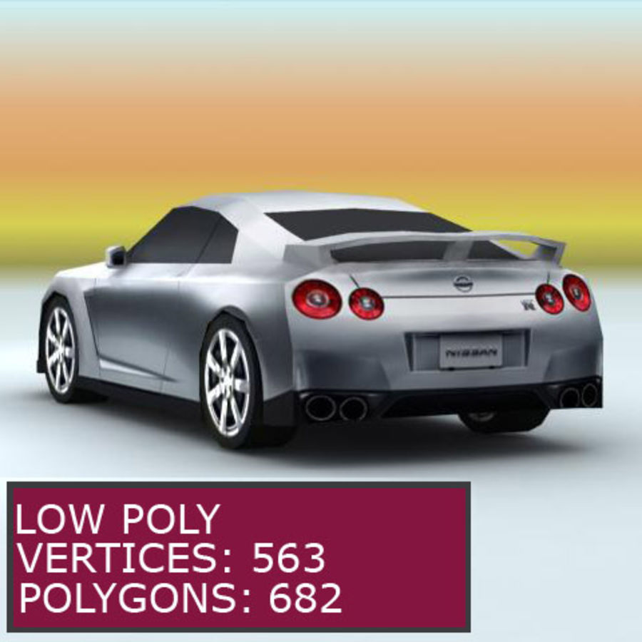 Nissan GTR 2008 (low poly) royalty-free 3d model - Preview no. 1