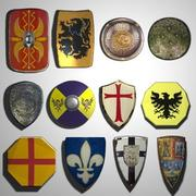 Medieval Shields (low poly) 3d model