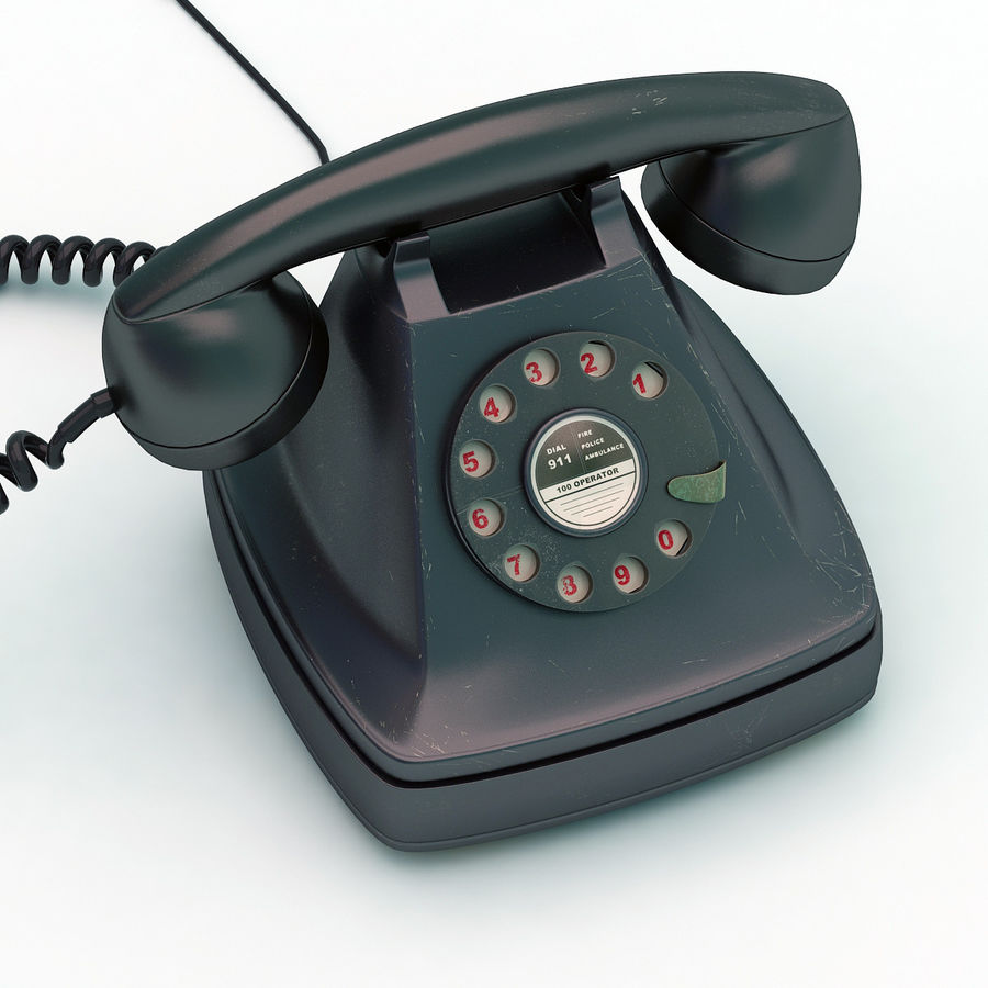 Rotary telephone royalty-free 3d model - Preview no. 2