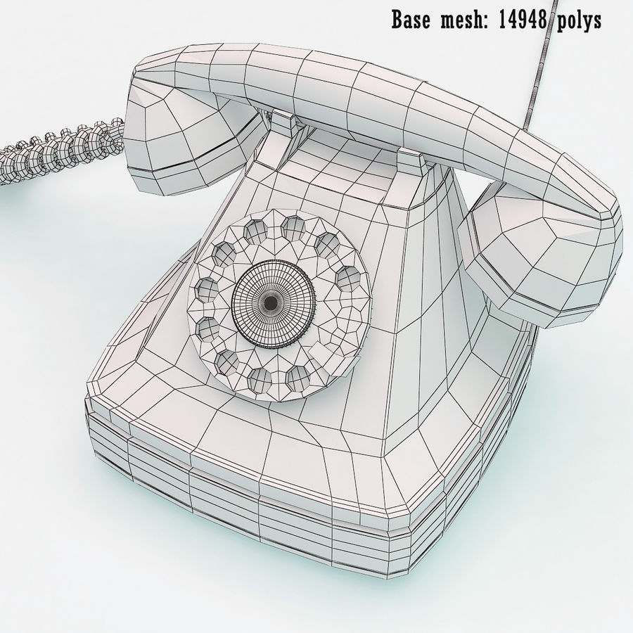 Rotary telephone royalty-free 3d model - Preview no. 10