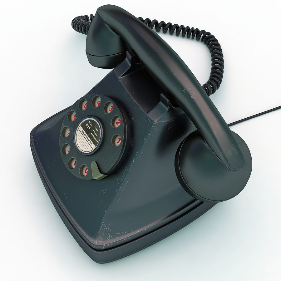 Rotary telephone royalty-free 3d model - Preview no. 3