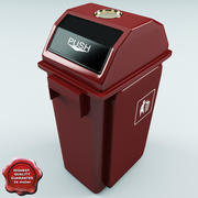 Trash Can Red Plastic 3d model