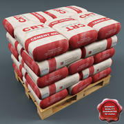 Pallet with Cement Bags 3d model