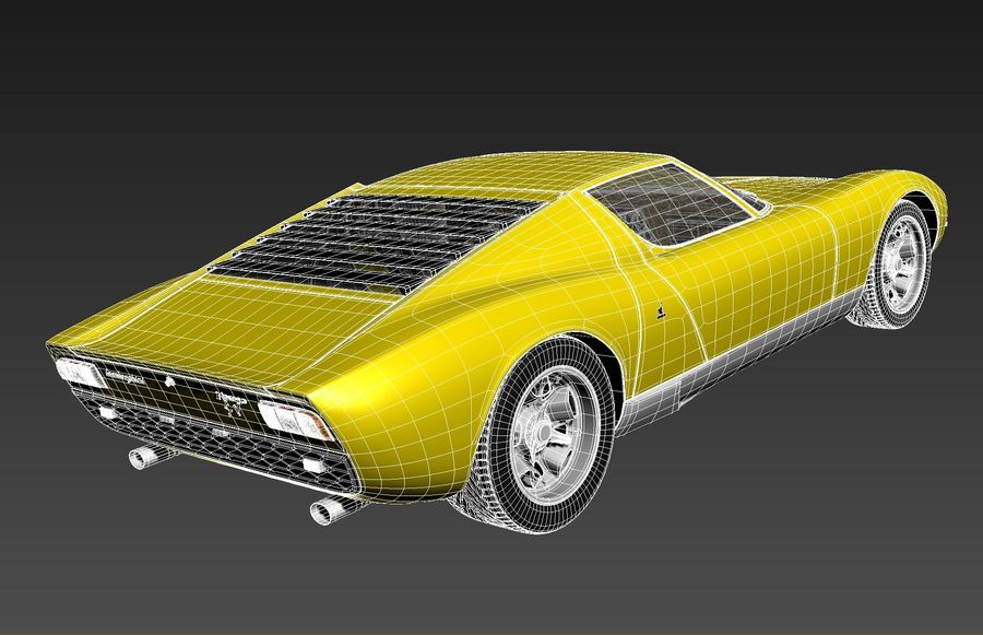 Lamborghini miura P400 SV 1971 royalty-free 3d model - Preview no. 16