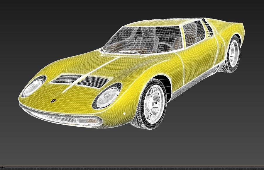 Lamborghini miura P400 SV 1971 royalty-free 3d model - Preview no. 14