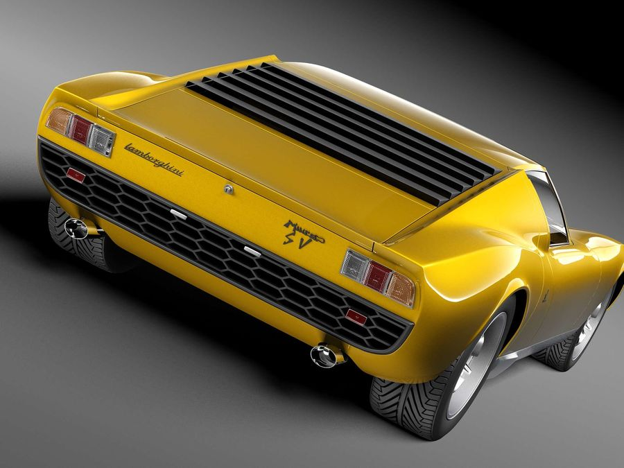 Lamborghini miura P400 SV 1971 royalty-free 3d model - Preview no. 6
