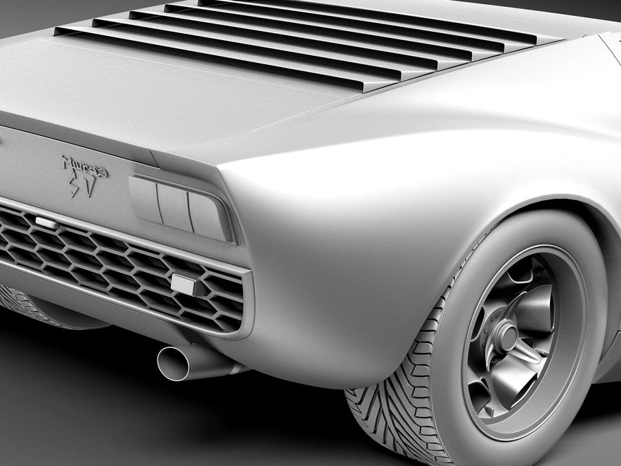 Lamborghini miura P400 SV 1971 royalty-free 3d model - Preview no. 11