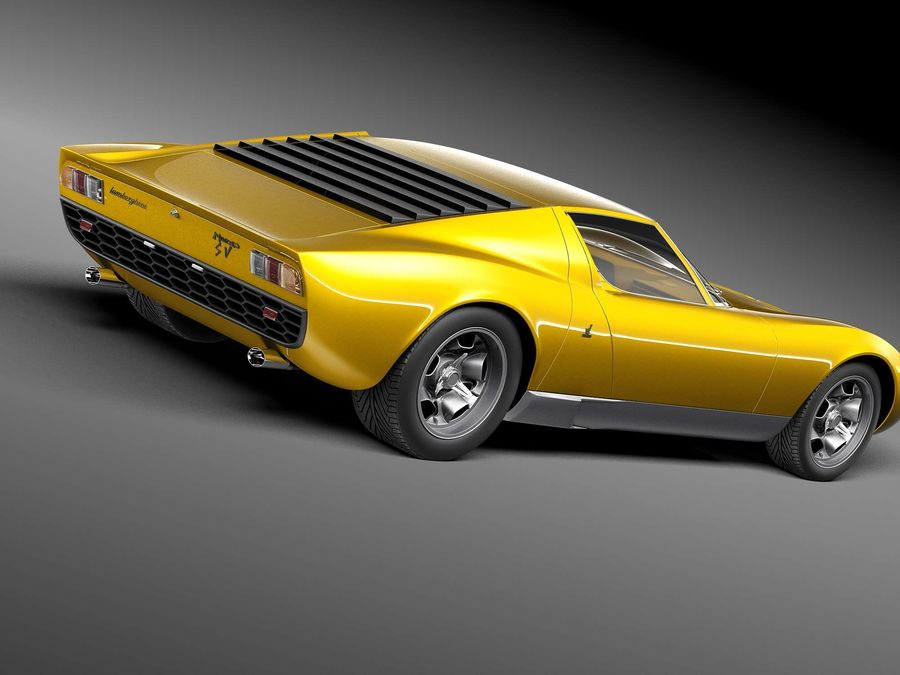 Lamborghini miura P400 SV 1971 royalty-free 3d model - Preview no. 5