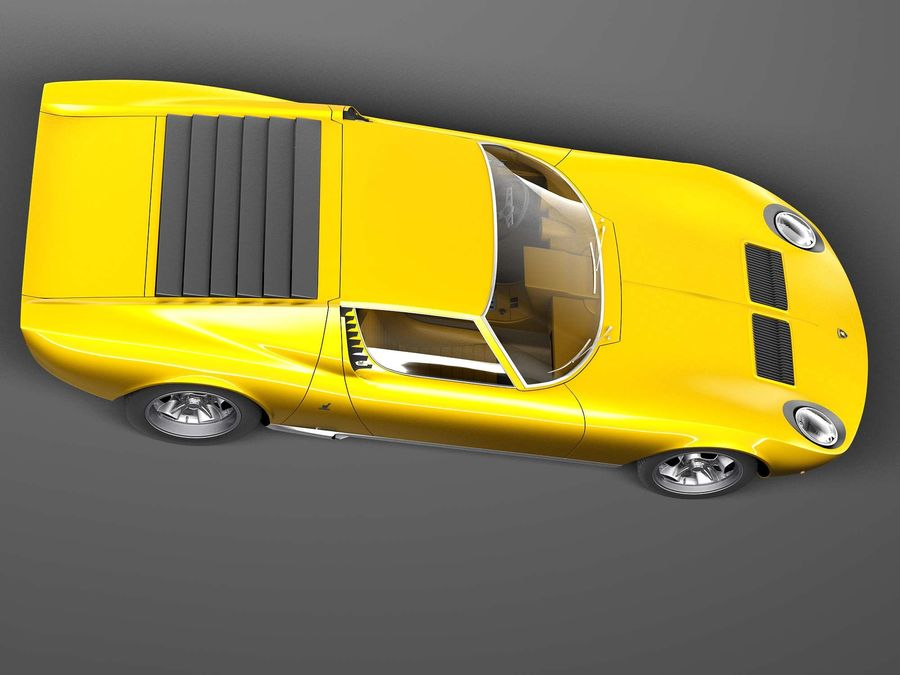 Lamborghini miura P400 SV 1971 royalty-free 3d model - Preview no. 8