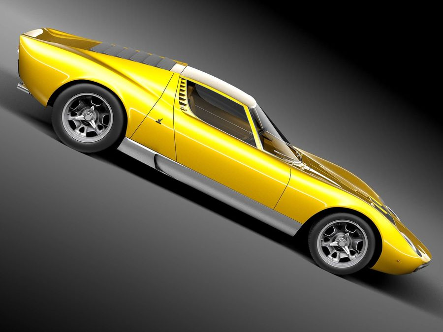 Lamborghini miura P400 SV 1971 royalty-free 3d model - Preview no. 7