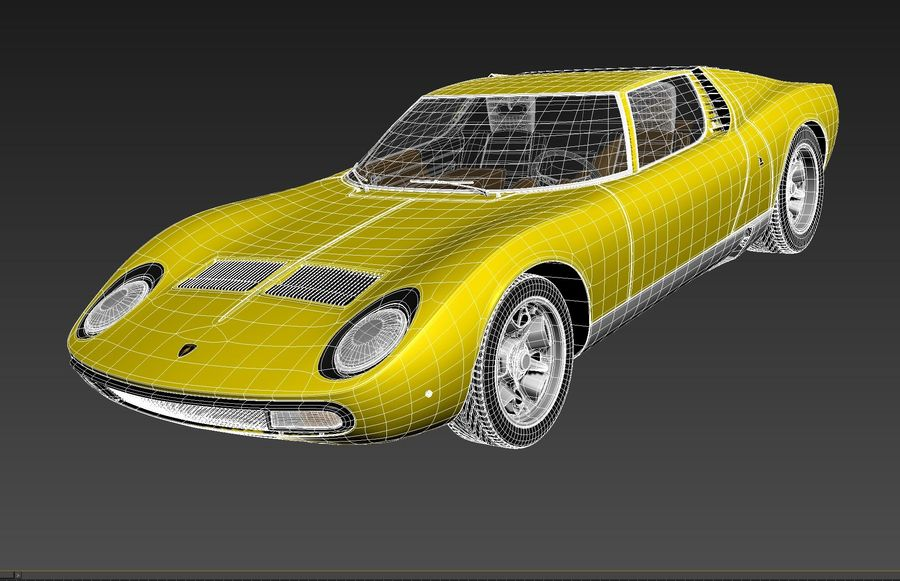 Lamborghini miura P400 SV 1971 royalty-free 3d model - Preview no. 13