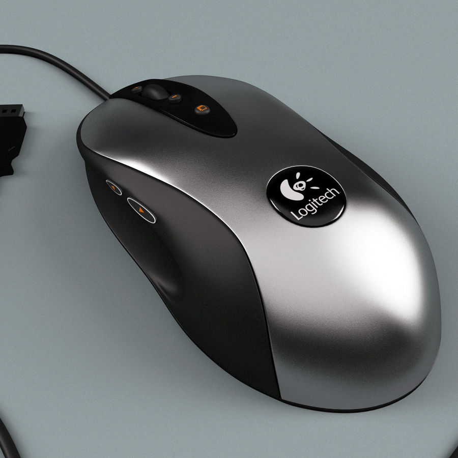 Logitech Optical Mouse royalty-free 3d model - Preview no. 4
